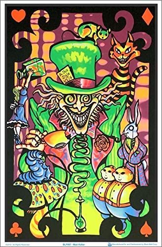 Alice in Wonderland Mad Hatter Collage Flocked Blacklight Poster Art Print 23 x 34in