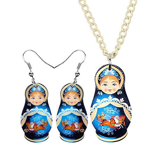 AMINIY Set De Joyería Acrílica Azul Lindo Ruso Muñeca Collar Pendientes Caídas Novedad Joyería For Mujeres Niñas Glamour Regalos Verano Multicolor