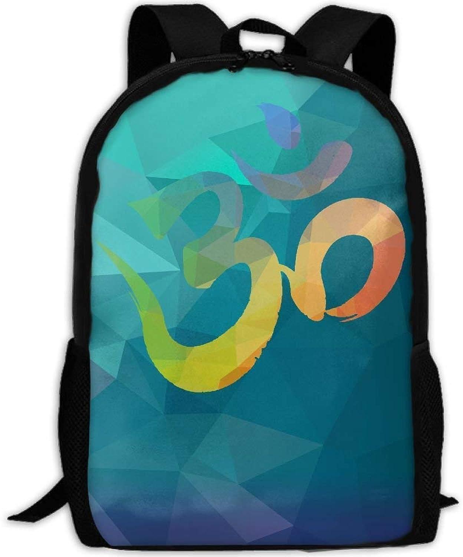 Backpack Adult Om Symbol Ornamental Unique Shoulders Bag Daypacks