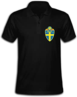 Men's Sweden National Football Team Logo Solid Short Sleeve Pique Polo Shirt