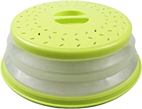 Cubierta de Microondas Plegable, Tapa para Microondas Plegable, con Respiraderos de Vapor, para Cubrir Platos, Prevenir Salpicaduras de Alimentos, Cesta de Drenaje de Frutas y Verduras (Amarillo)