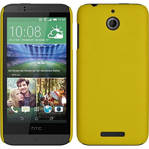 PhoneNatic Hülle kompatibel mit HTC Desire 510 - Hülle gelb gummiert Hard-case + 2 Schutzfolien