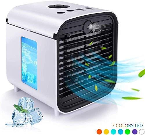 JJGL Portable Mobile del condizionatore d'Aria 4 in 1 Mini evaporativo Personal Air Cooler for la casa Stanza Ufficio con luci LED 7 3 velocità diffusore 0829