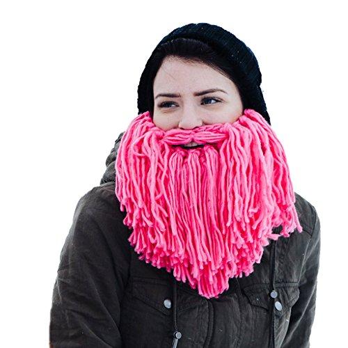 Beardo baardmuts Viking - gebreide muts met roze baard