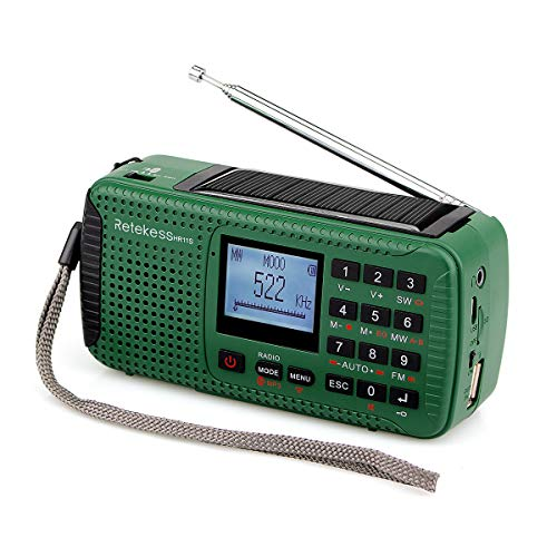 Retekess HR11S Emergency Radio with AM FM Shortwave Radio Dynamo Radio Solar Wind Up with SOS Flashlight MP3 Player Recorder Alarm Clock DSP(Green)