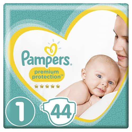 Pampers Couches Premium Protection Taille 1 (2-5 kg) notre N°1 pour la protection des peaux sensibles, Aide à protéger le ventre délicat de votre nouveau-né, 44 Couches