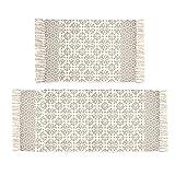 Pauwer Tan Moroccan Cotton Area Rug Set 2 Piece 2'x4.2'+2'x3' Machine Washable Printed Cot...
