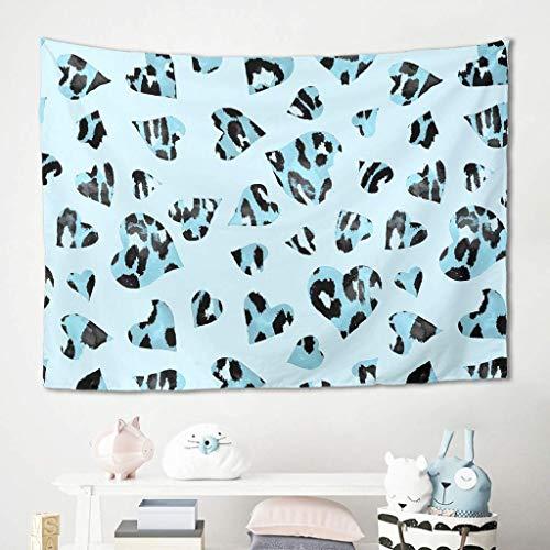 N\A Tapiz de Corazones de Leopardo Azul para Colgar en la Pared, tapices, Manta, tapetes para Picnic, Mantel, sofá, Fondo para una Hermosa decoración de Dormitorio Universitario en casa, Color Blanco
