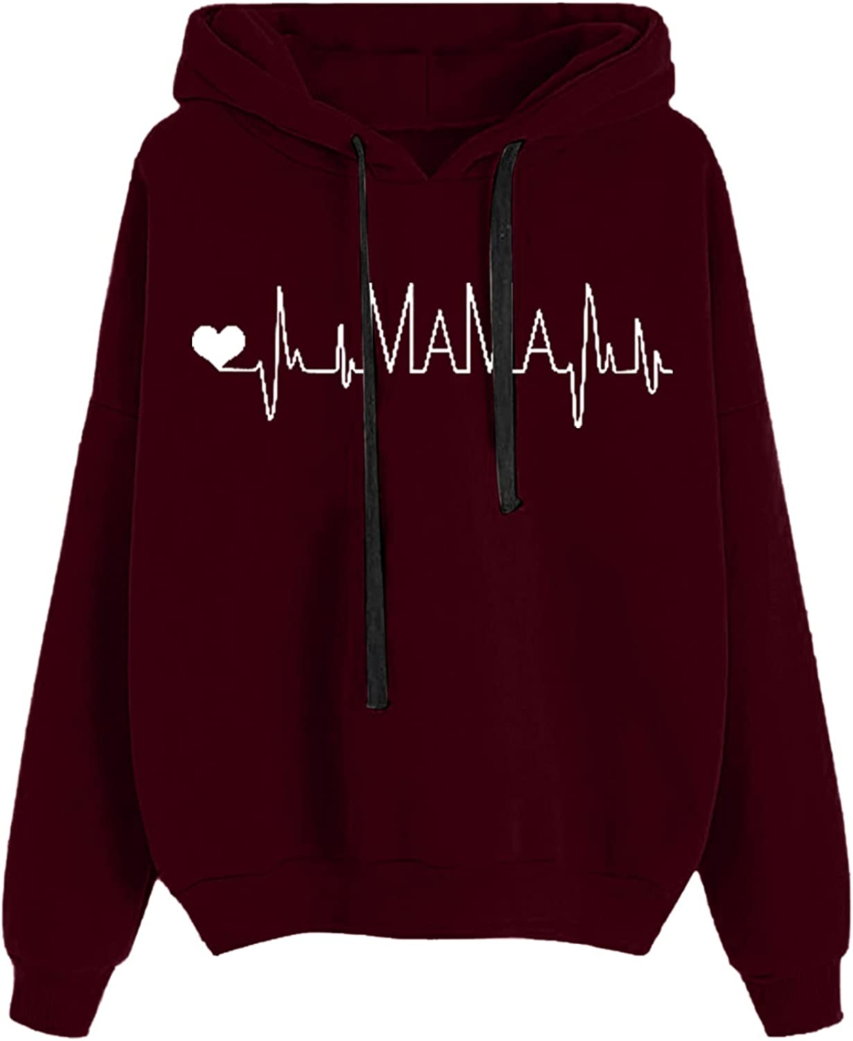 Limited time for free shipping Women Hoodies Tops Electrocardiogram Printed Loose Sle Soft Long Attention brand