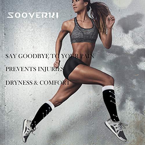 SOOVERKI Lot de 6/8 chaussettes de compression (15-20 mmHg) pour femme et homme – Meilleure...