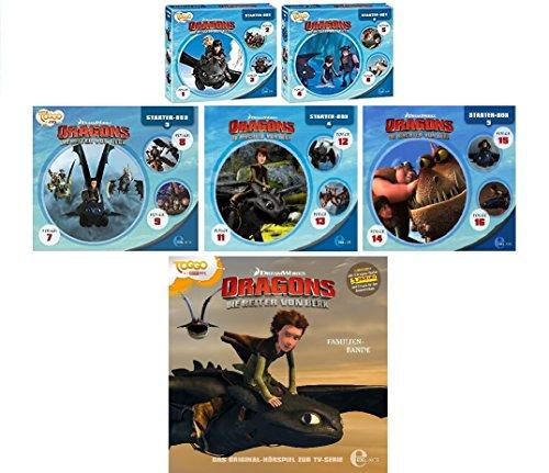 Dragons - die Reiter/die Wächter von Berk - Starter Box 1-5 + CD 10 (Hörspiel Folgen 1-16) im Set - Deutsche Originalware [16 CDs]