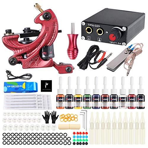 Solong kit Tatuaje Completo 1 Pro Tattoo Machines Fuente de alimentación CE EU Plug Pedal Needles Grips Tips para principiantes TK127