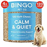 120 Calming Treats for Dogs - Dog Anxiety Relief for Dogs 100% Organic Hemp Oil Chews, L-Theanine Bites Treat for Separation Anxiety Aid in Dog Anxiety for Stress, Fireworks and Thunder - Made In USA
