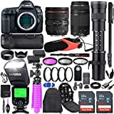 Canon EOS 5D Mark IV DSLR Camera Kit with Canon 24-70mm f/4L is USM & 75-300mm Lenses + 420-800mm Telephoto Zoom Lens + Battery Grip + TTL Flash + Comica Mic + 128GB Memory + Accessory Bundle