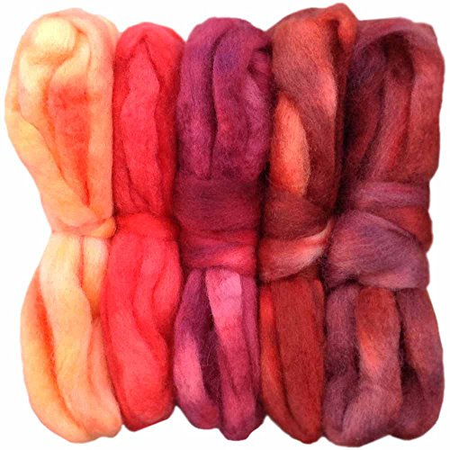 SPINNING FIBER Super soft BFL Wool Top Roving drafted for hand spinning with drop spindle or wheel, felting, blending and weaving. Variegated hand dyed mini skeins. 5 Ounce DISCOUNT PACK, Red Multi