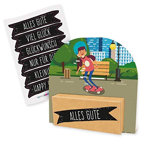 itenga Geldgeschenk oder Gutschein Verpackung Geschenkaufsteller Motiv/Anlass Skateboard Skater mit Stickerbogen aus Karton 12x11,5cm