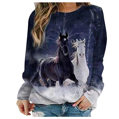 Sasaquoy Damen Sweatshirt Pullover Mädchen und Pferd Druck Langarmshirt Tops Herbst Frauen Elegant Pulli Langarm T-Shirt Shirts Teenager Bedrucktes Lockere Casual Oberteil (Z7, Small)