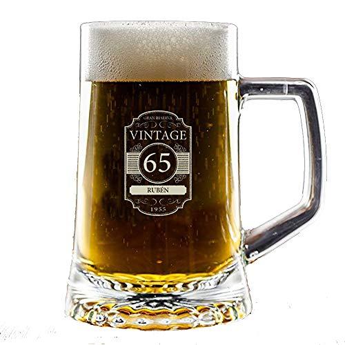 Regalo Personalizado para cumpleaños: Jarra de Cerveza Vintage grabada con su Nombre, Edad y año de Nacimiento