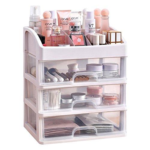 Wuyue Hua - Caja de almacenamiento de maquillaje, organizador de cosméticos de tamaño pequeño, varios cajones transparentes para cuarto de baño, dormitorio, tocador.