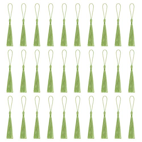 VAPKER 30 Pieces Green Tassels 13cm/5-Inch Silky Handmade Soft Mini Tassels Floss Bookmark Tassels with 2-Inch Cord Loop for Jewelry Making, DIY Projects, Bookmarks