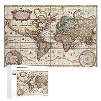 INOV 世界 1652地図 海 地図書 世界地図 トリプティカ ジグソーパズル 木製パズル 1000ピース インテリア 集中力 75cm*50cm 楽しい ギフト プレゼント
