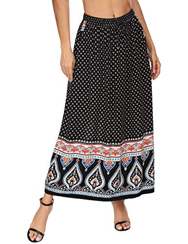 Parabler Women's Maxi Skirt Boho Summer Skirt Pleated Retro Long Pleated Skirt Beach Skirt Elastic Waist Dance Skirt Maxi Plate Skirt - Black - S