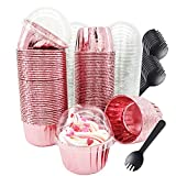 Cupcake Liners with Dome Lids 100Pack,Free-Air Foil Baking Cups,Disposable Muffin Tin Cupcake Wrappers for Individual Bakery Wedding Birthday Party, with Spoons-Rose gold||80ml