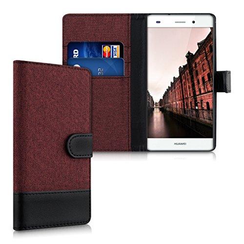 kwmobile Hülle kompatibel mit Huawei P8 Lite (2015) - Kunstleder Wallet Case mit Kartenfächern Stand in Dunkelrot Schwarz