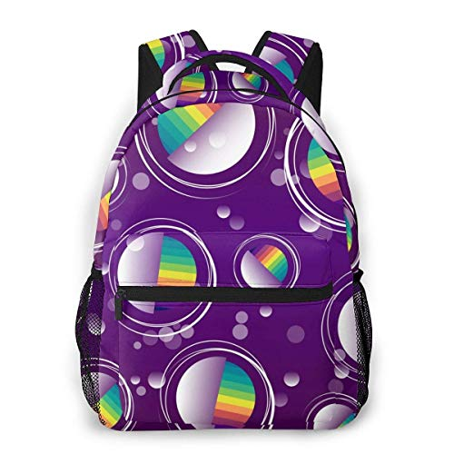 Lawenp Fashion Unisex Backpack Purple Rainbow Bubble Bookbag Lightweight Laptop Bag for School Travel Outdoor Camping