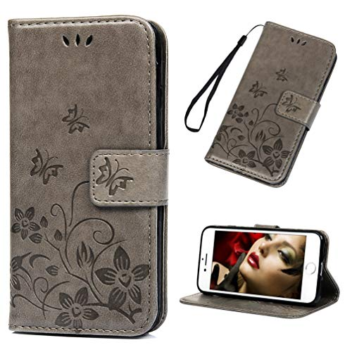 Firemoon iPhone 8 Tasche, iPhone 7 Geldbörsenhülle, Elegantes Reliefmuster Premium PU Leder mit Kartenhalter Cache Ordner Ständer Stoßfeste Handyhülle - Grau