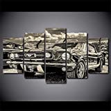 Modular HD Print Artwork Modern Sports Car Poster Home Decor Wall Art 5 Pieces Pictures 1965 Ford Mustang Canvas Painting (8x14in*2 8x18in*2 8x22in*1(Frame))