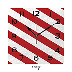 FashSam 8 inch Square Clock Jumbo and Small Polka Dot and Diagonal Stripes Patterns in Red, Black and White Color Unique Wall Clock-for Living Room, Bedroom or Kitchen Use No-25766