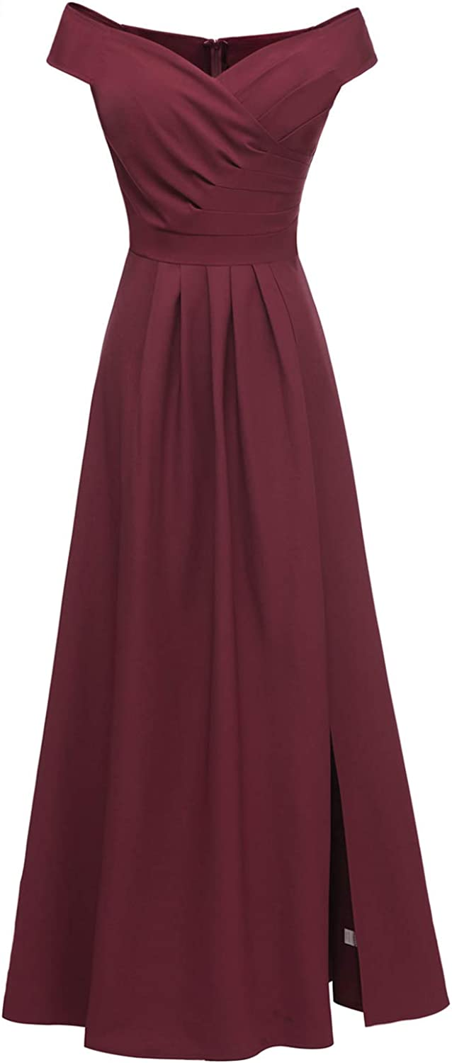 Women's Off The Shoulder Mermaid Gowns Wrap Cocktail Party Dress Formal Prom Dresses Slim Sexy Maxi Dress,WineRed,L