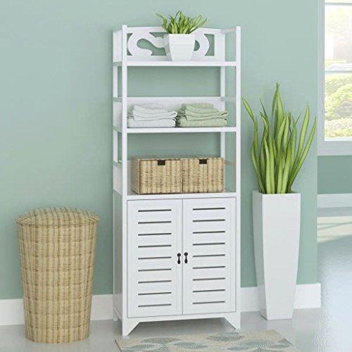 Lingjiushopping Armoire de salle de bain en bois blanc Albuquerque 46 x 24 x 117,5 cm. Matériau : bois de paulownia + contreplaqué. Dimensions totales : 46 x 24 x 117,5 cm.