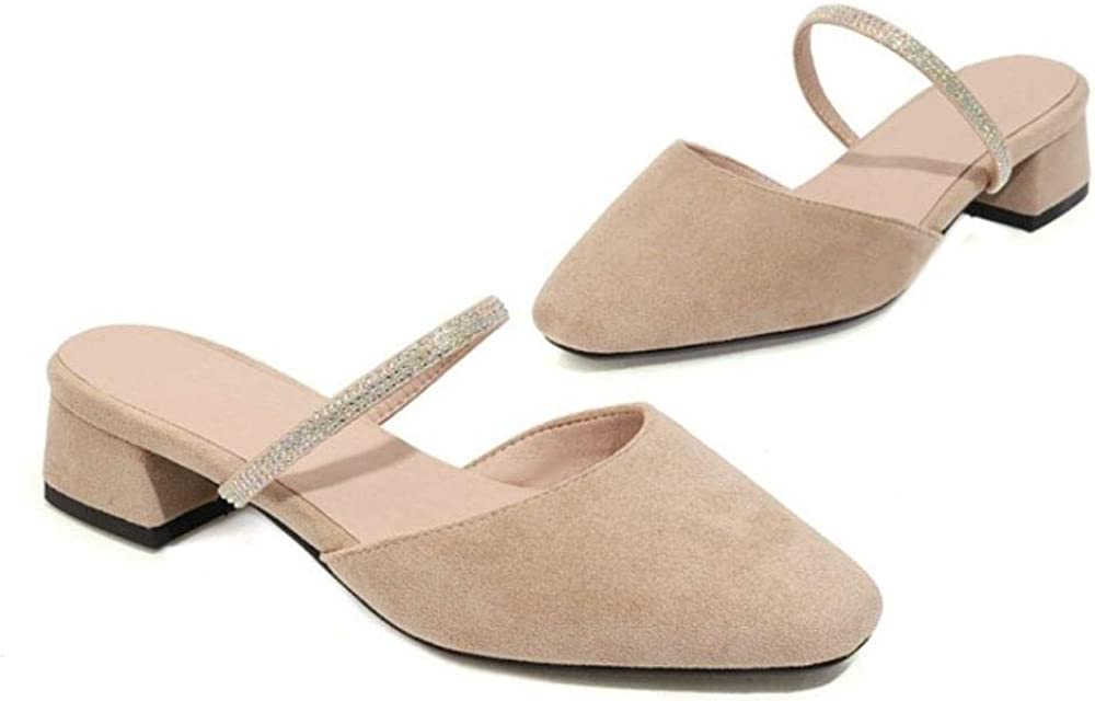 EveKitty Women Simple Low Heel Sandals Slip on Dress Shoes Apricot 22
