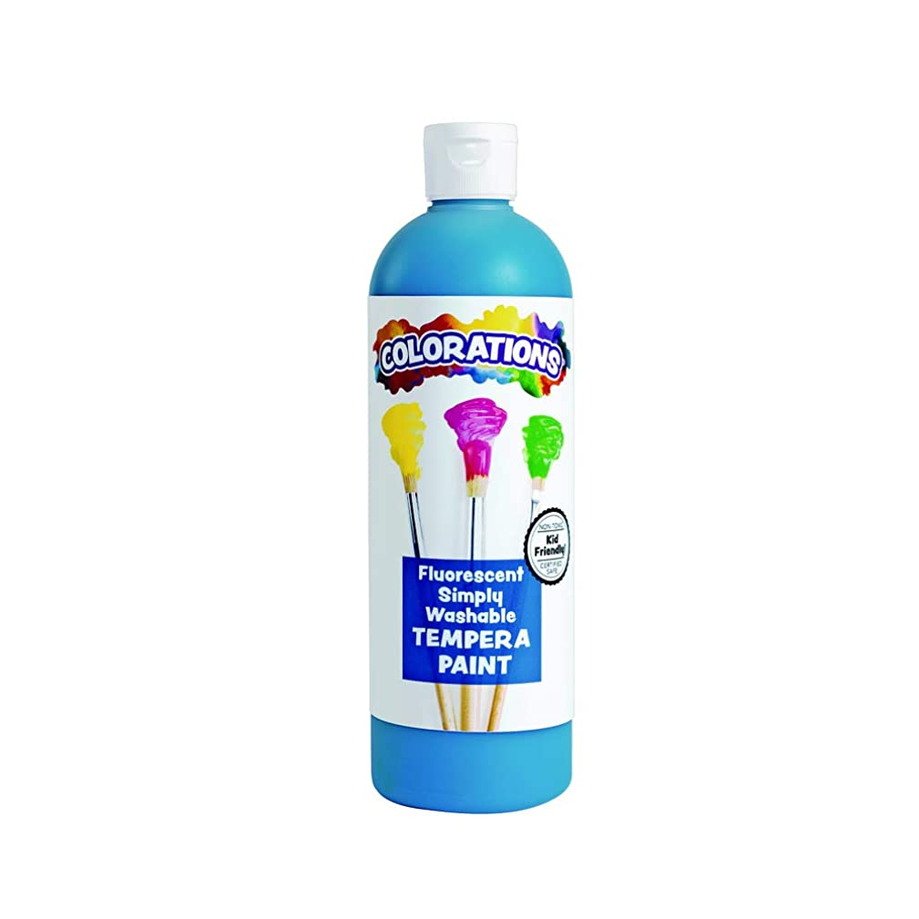 Colorations FSWTBL Simply Washable Tempera Paint, Fluorescent Blue - 16 oz.