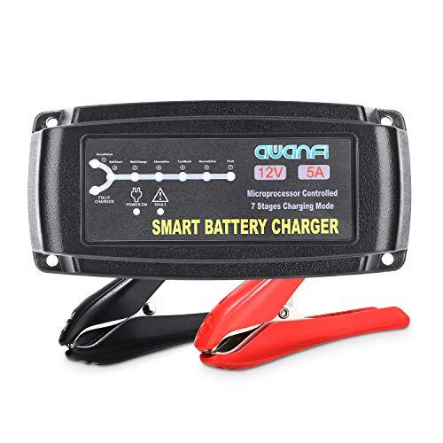 AWANFI Cargador Batería Coche, 12V 5A Automático Inteligente Mantenedor Bateria Coche y Protecciones Múltiples para Baterías Plomo Ácido AGM,Gel,Wet,MF,EFB para Coches,Moto,ATVs,RVs, Barco y Camiones