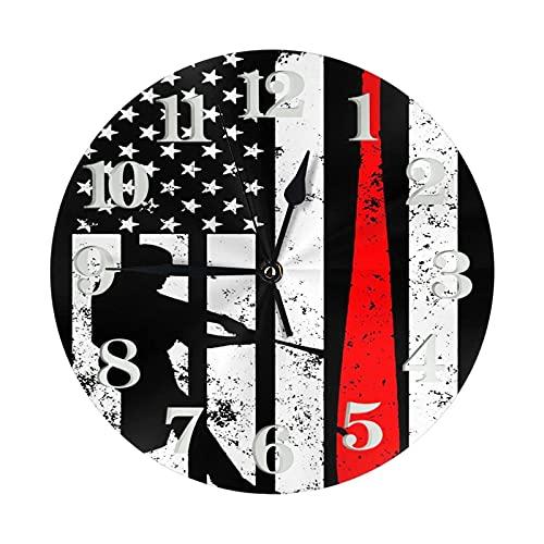 America FLA con béisbol Reloj de Pared para Hombre Reloj Decorativo Redondo Reloj silencioso Que no Hace tictac con números Grandes Elegante Reloj de Escritorio para Cocina, Oficina, Escuela, hogar