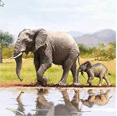 20 Servietten Elefantenfamilie am Wasser als Tischdeko für Liebhaber vom Afrika und Tiermotive 33x33cm