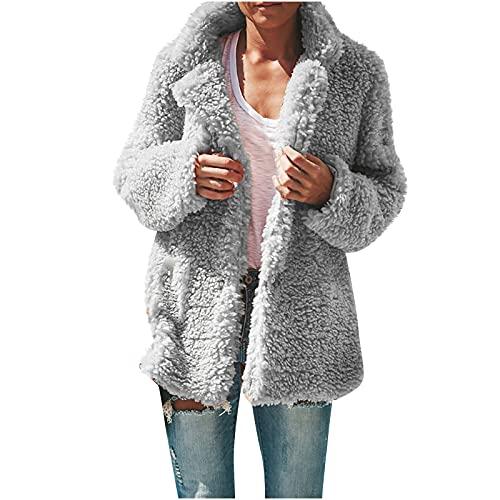 AOCRD Chaqueta de mujer de imitación de felpa, suéter de invierno cálido, suelto, de manga larga, para exterior, chaqueta de invierno, gris, L
