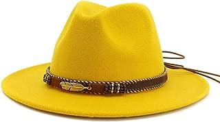 HUDANHUWEI Men Women Ethnic Felt Fedora Hat Wide Brim Panama Hats with Band