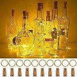 Fulighture Luz de Botella,2m 20LEDs Lámparas de Botellas con Pilas Flexible de Alambre de Cobre,LED Corcho Micro Luces para Carnaval,Decoración de Boda,DIY Fiesta - 10PCS,Blanco Cálido