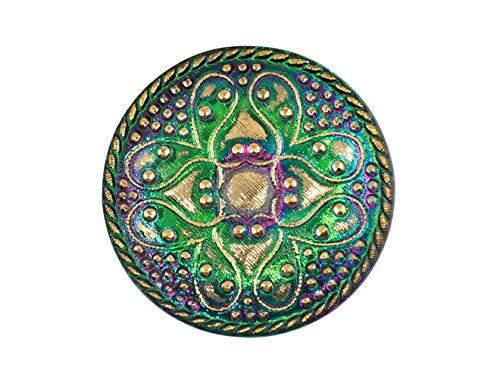 1 pcs Czech Glass Buttons Hand Painted, Size 14 (31.5mm | 1 1/4