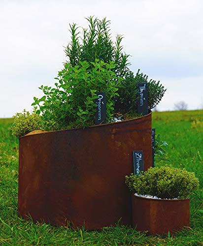 Novaliv Kräuterspirale Naturrost Kräuterschnecke Hochbeet Pflanzenring (41 cm Hoch)