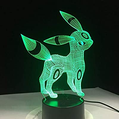 Pokemon Umbreon 3D Luz de Noche de Acrílico Usb Luz del Sueño 3Aa Batería 7 Colores Cambiar Lámpara de Mesa Dormitorio Decoración Regalo de Los Niños por Eqwr