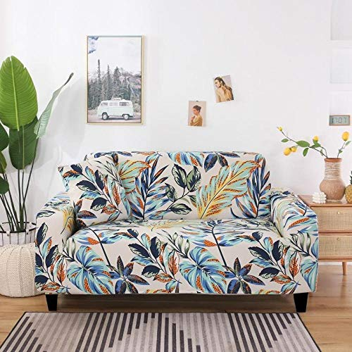 Funda de sofá de 4 Plazas Funda Elástica para Sofá Poliéster Suave Sofá Funda sofá Antideslizante Protector Cubierta de Muebles Elástica Patrón de Hojas de Colores Funda de sofá