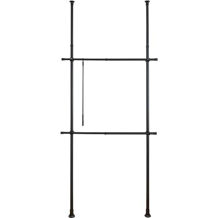 WENKO Système télescopique Herkules Basic Noiravec 2 barres porte-vêtements, 75-120 x 165-300 x 11 cm, noir mat