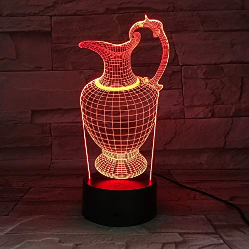 Flower Vase Bottle 3D Acrylic Night Light Sleep Light Fixture Table Desk Lamp Bedroom Home Decoration Kids Gift