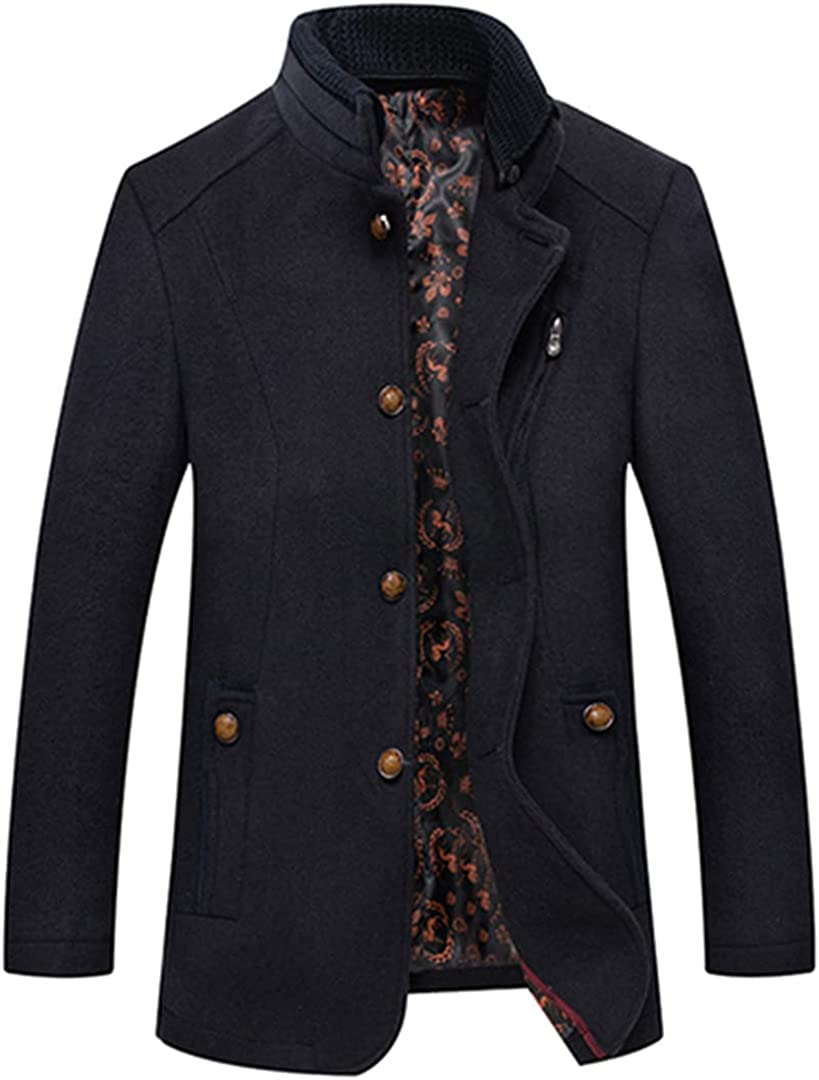 Men Wool Coats Fashion Business Overcoat Warm Coat For Men Winter Leisure Pea Coat Thick Clothes