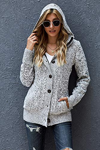 Sidefeel Women Hooded Knit Cardigans Button Cable Sweater Coat X-Large Grey